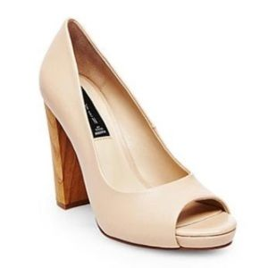 NEW Steven Coniee Peep Toe Nude Leather Heels